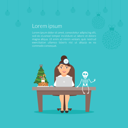 vacation with laptop: Cute cartoon character doctor woman otolaryngologist or dentist.Christmas medical illustration. Flat design vector. Merry Christmas and Happy New Year decorated workplace office. Xmas tree.