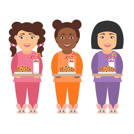 Cute cartoon character girls children with milk and cookies for Santa Claus.People of different nationalities - asian, african and american.Merry Christmas and Happy New year. Vector in flat design. Illustration