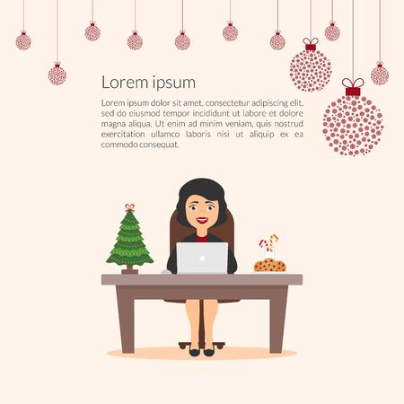 christmas cookie: Lovely beautiful cartoon character businesswoman. Elegant girl Secretary assistant. Merry Christmas and happy New Year decorated the office workplace. Xmas tree. Flat design vector.