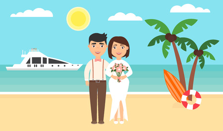 Summer background, sunset beach. The sea, yachts, palm trees and newly married couple. Wedding ceremony by the ocean.Modern flat design. Vector illustration. Illustration