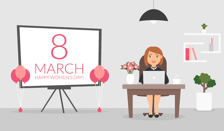 womens work: Office room on March, 8. Happy Womens Day. Businesswoman working at a computer. Cute character. Flat design vector illustration.