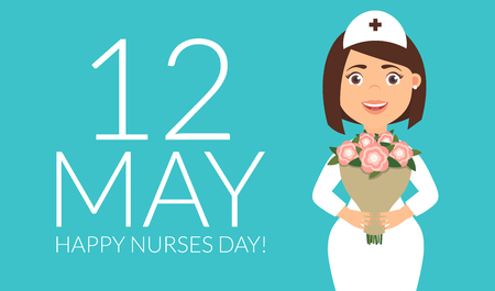 Holiday greeting card for the International Nurses Day. Vector illustration in modern flat style.