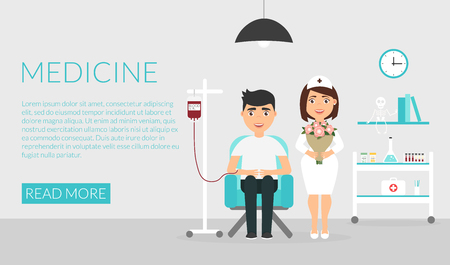 Health care. Medical horizontal banner. A nurse or doctor at the clinic and the donor patient. Flat design. Illustration