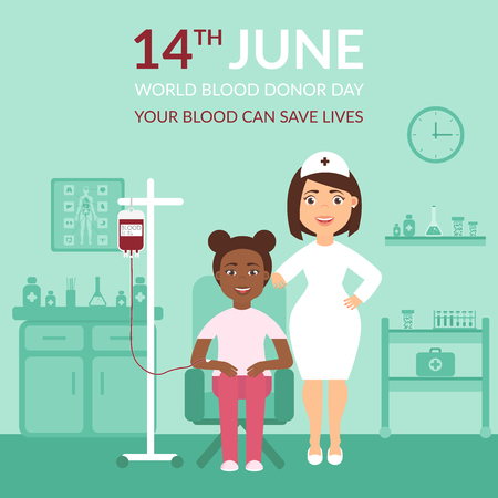 World Blood Donor Day 14 june. Medical banner your blood can save lives. Health care. A nurse or doctor at the clinic and the patient. Flat design. Illustration