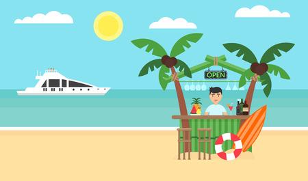 Summer background - sunset beach. Sea, yacht, bar and a palm tree. Modern flat design. Vector illustration. Illustration