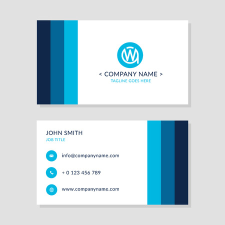 wa: Modern Business Card Blue colors Set. EPS10 Vector Flat Design. Creative Company Logo Initial Letters WA or AW.