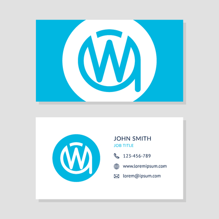 wa: Modern Business Card Blue colors Set. Creative Company Logo Initial Letters WA or AW. Two Sides of Cards. EPS10 Vector Flat Design.