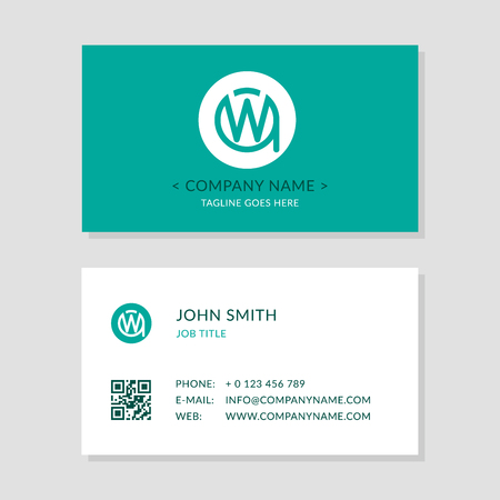 Modern business card blue colors set creative company logo initial 81916938 modern business card green colors set creative company logo initial letters wa or aw second sides of cards with qr code reheart Choice Image