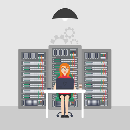 Woman System Administrator. Technologies Server Maintenance Support Descriptions. Vector illustration in flat style.