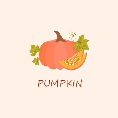 Ripe pumpkin in flat style. Natural healthy food.