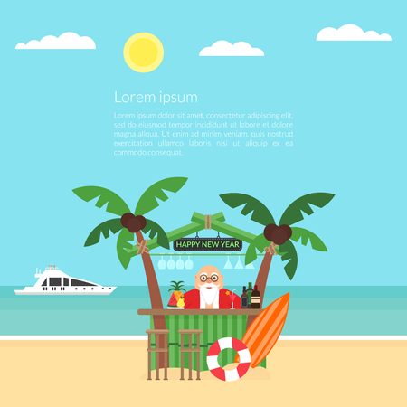 Invitation for Christmas and New Year. Designed with a summer beach background, yacht, palm trees, and cute bartender Santa Vector illustration. Ilustração