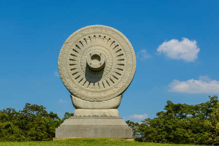 dhamma: Dharmachakra ; Wheel of Dhamma, Buddhamonthon, Nakhon Pathom, Thailand Stock Photo