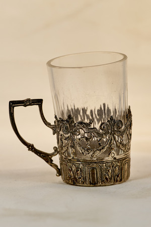 tot: Antique silver small glass tot hoder Stock Photo