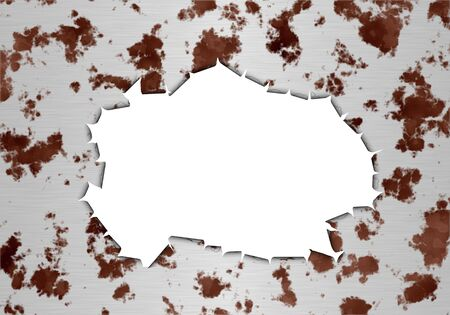 rusted metal texture and a white hole photo