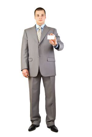 a businessman holding a blank business card photo