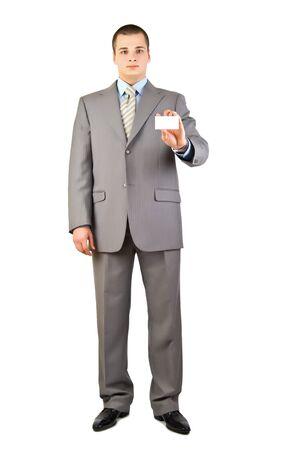a businessman holding a blank business card photo