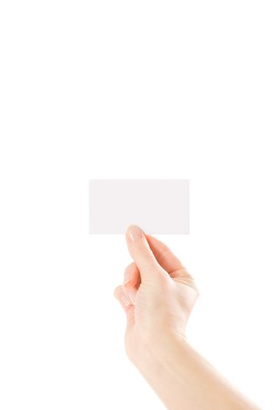 hand and a card isolated on white