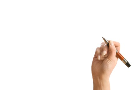 Concept. Hand and pen isolated on white Stock Photo