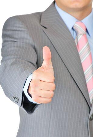 Businessman thumb up isolated on white background  photo