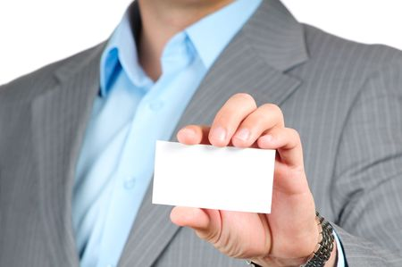 Businessman holding blank card isolated on white background