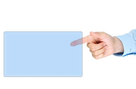 handsignal: Finger point to screan isolated on white background
