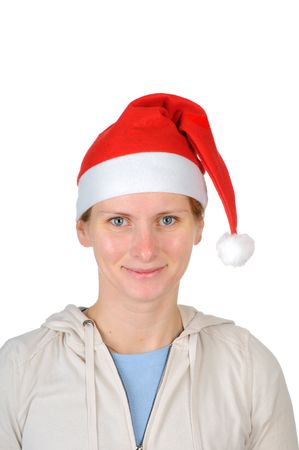 Young woman in santas hat isolated on white background  photo