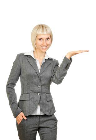 Businesswoman presentation isolated on white background Stock Photo - 6014304