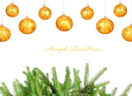 Christmas card. Pine branches and balls isolated on white background photo