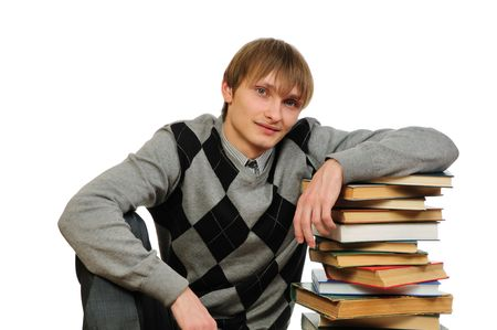 overachiever: Man with stack of books isolated on white background   Stock Photo