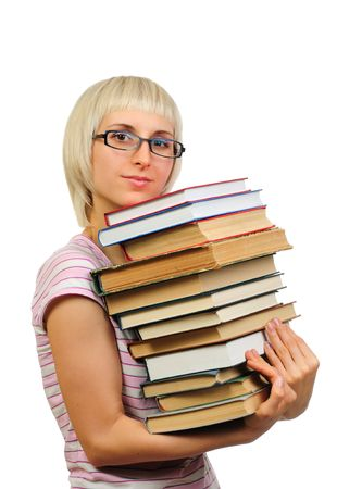 Young woman holding book heap isolated on white background  photo