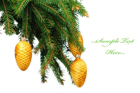 Pine branches and christmas balls isolated on white background  photo