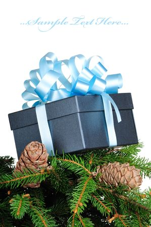 Gift box on pine branches isolated on white background  photo