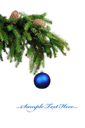 Pine branches and christmas ball isolated on white background  photo
