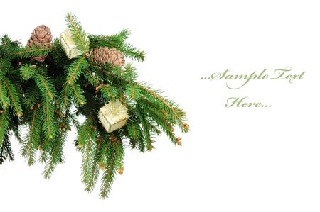 Pine branches and decoration isolated on white background  photo