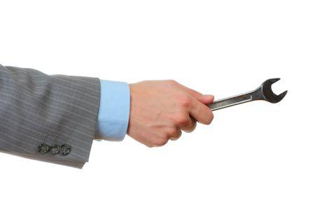 screw key: Businessman hold screw key isolated on white background. Concept