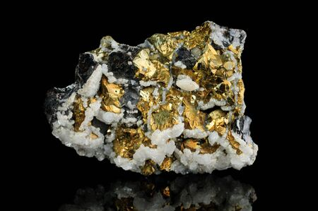 pyrite: Pyrite mineral isolated on black background