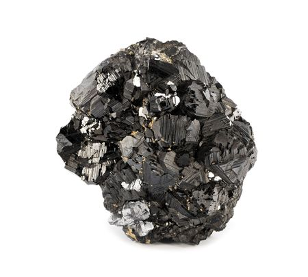 ore: Magnetite mineral isolated on white background  Stock Photo