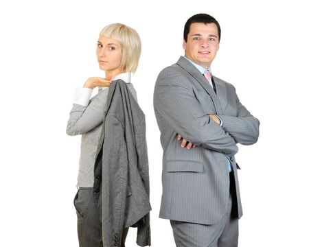 Businessman and businesswoman standing confidently isolated on white background  photo