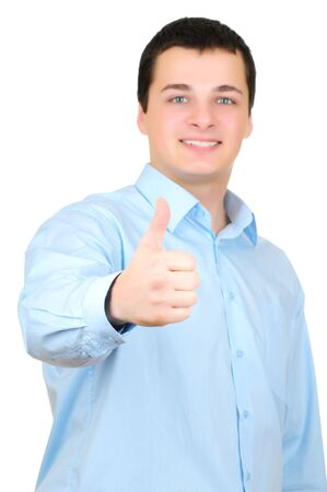 Businessman thumb up Isolated on white background  photo
