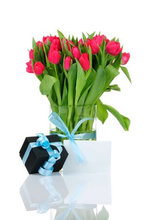Bouquet of tulips in the vase isolated on white background  photo