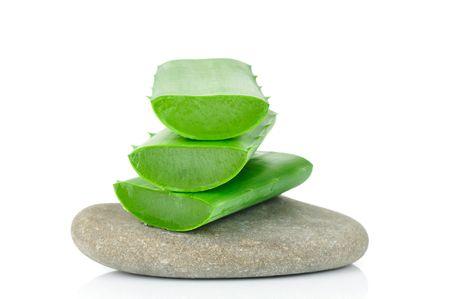 Sliced aloe leaves on the stone Standard-Bild