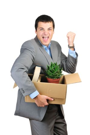 You are fired! Young happy businessman hold cardboardbox with personal belongings. Isolated on white background.  photo