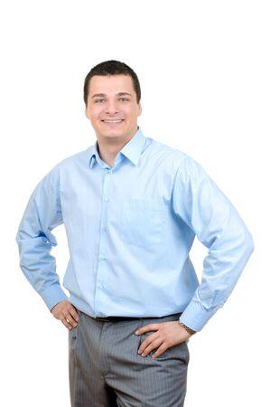 adultos: Empresario permanente con confianza aislado sobre fondo blanco