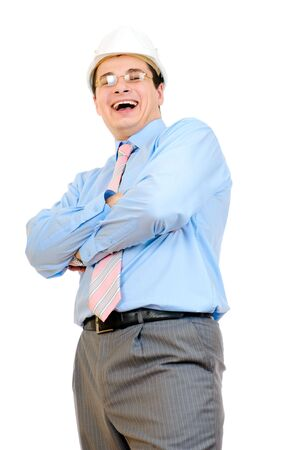Happy engineer with white hard hat isolated on white background  Stock Photo - 6631330