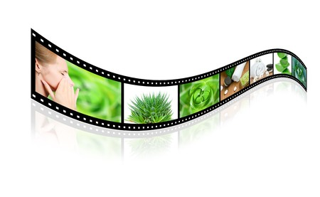 Health care film slide isolated on white background photo