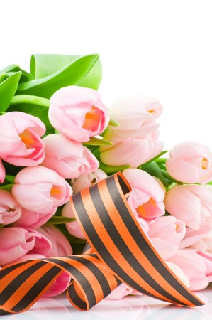 George ribbon and tulips isolated on white background photo