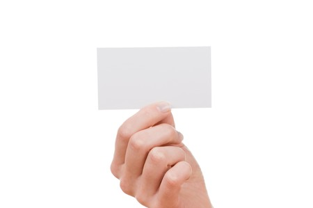 Hand and a card isolated on white photo