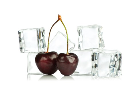 Cherry and ice cubes isolated on white background Stock Photo - 7796439