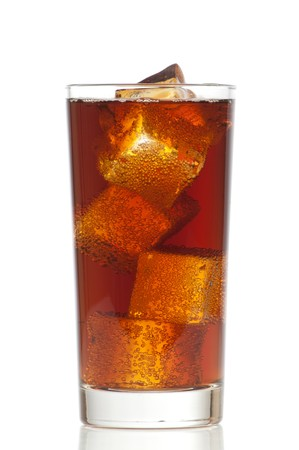 Cola in glass and ice cubes isolated on white background Stock Photo - 7682412