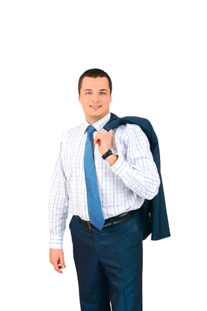 Portrait of happy smiling business man, isolated on white background Stock Photo - 17099043